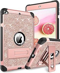 iPad Mini 5 Case 2019, iPad Mini 4 Case, DUEDUE 3 in 1 Glitter Shockproof High Impact Heavy Duty Hard PC Cover with Durable Kickstand Full Body Protective Case for iPad Mini 5/iPad Mini 4, Rose Gold