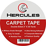 """Hercules Double Sided Carpet Tape, Heavy Duty Grip Anti Slip Design for Rugs, Carpets, Mats, Strongest Hold for Hard Wood Floors, Tile, Concrete, Stair Treads, All Flooring, 30 Yards Long, 2"""" Wide"""