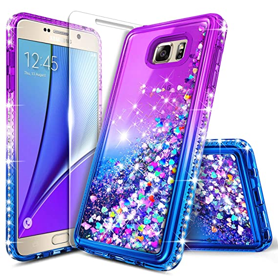 huge selection of 426a0 c6dde Galaxy S7 Case with Tempered Glass Screen Protector for Girls Women Kids,  NageBee Glitter Liquid Sparkle Bling Floating Waterfall Diamond Shockproof  ...
