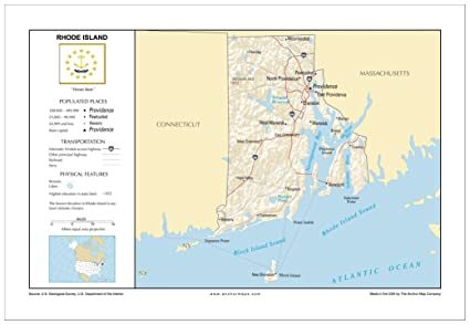 Amazon.com : 13x19 Rhode Island General Reference Wall Map - Anchor ...