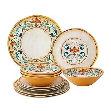 sc 1 st  Amazon.com & Amazon.com   Melamine Tuscany Dinnerware Set of 12: Dinnerware Sets