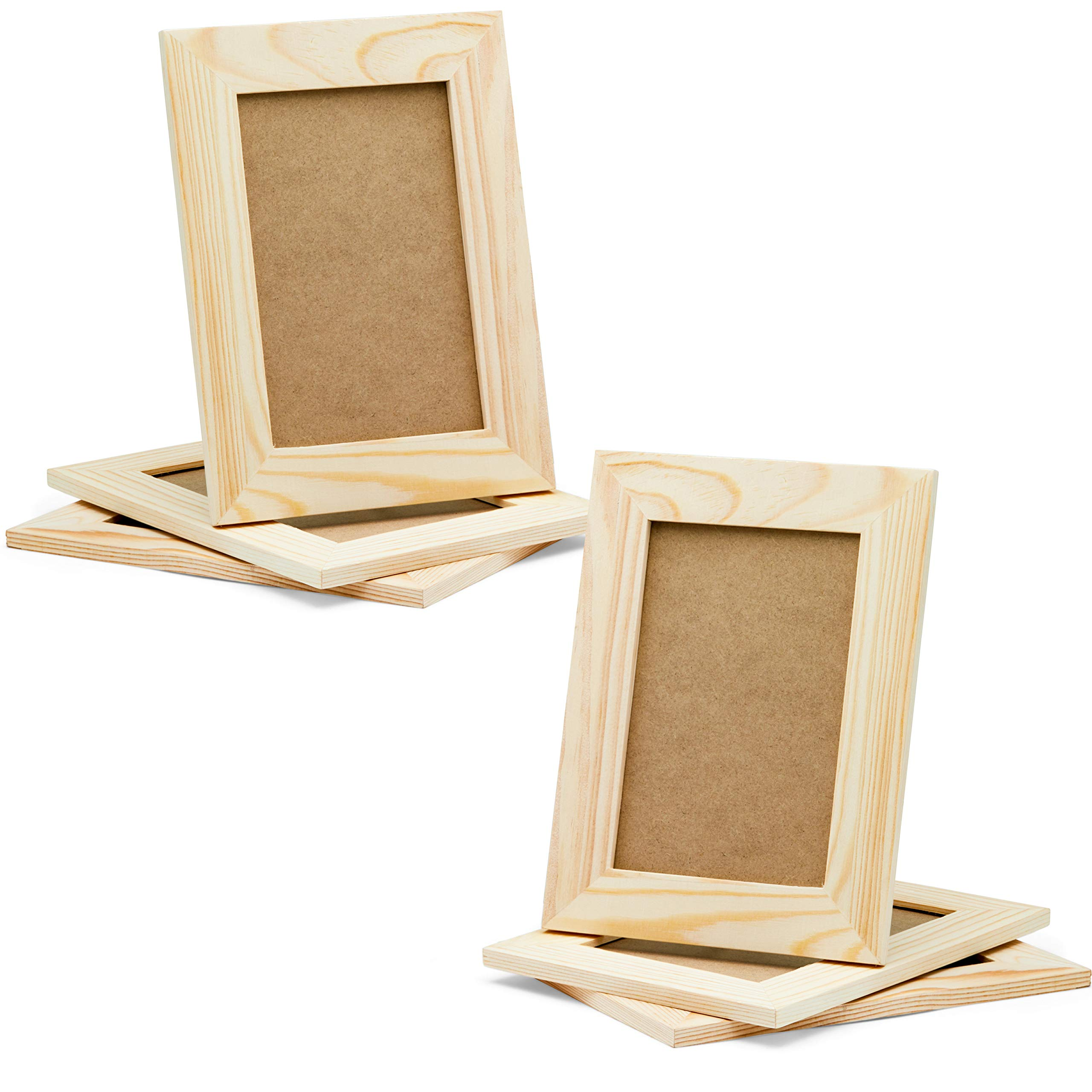 DIY Picture Frames, 4x6 Craft Frames Set, Unfinished Solid Pine Wood DIY Photo Frames, For Arts and Crafts DIY Painting Projects, Set of 6 (6x8 Frame Size Holds 6x4 Pictures) For Adults and Kids Craft