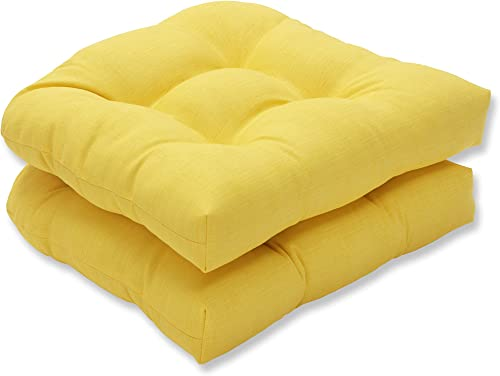 Pillow Perfect Outdoor Indoor Fresco Tufted Seat Cushions Round Back , 19 x 19 , Yellow, 2 Pack