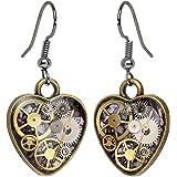 Body Candy Handcrafted Steal My Heart Steampunk Intricate Inlay Watch Gear Heart Fishhook Earrings