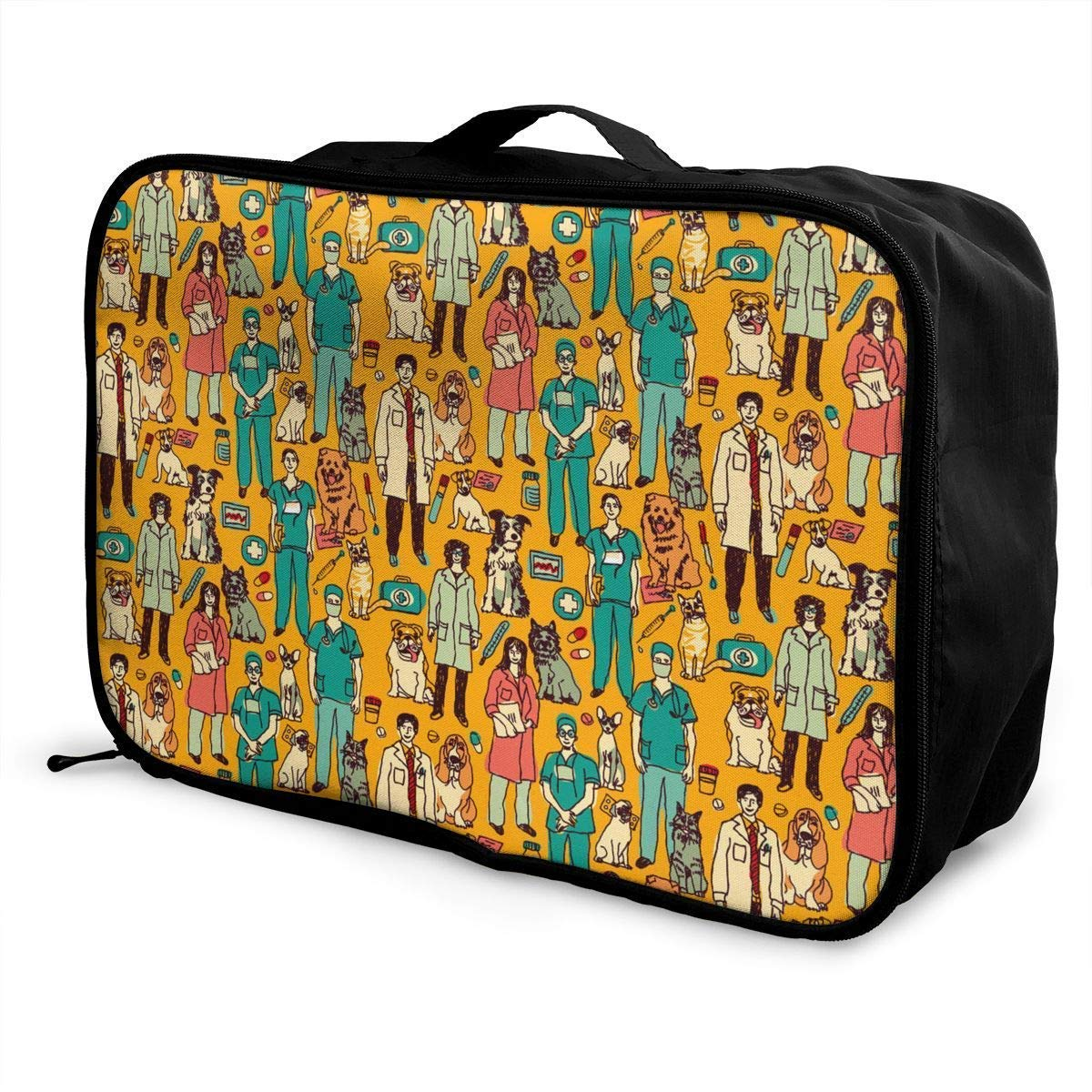 JTRVW Luggage Bags for Travel Portable Luggage Duffel Bag Veterinary People and Pets Pattern Travel Bags Carry-on in Trolley Handle