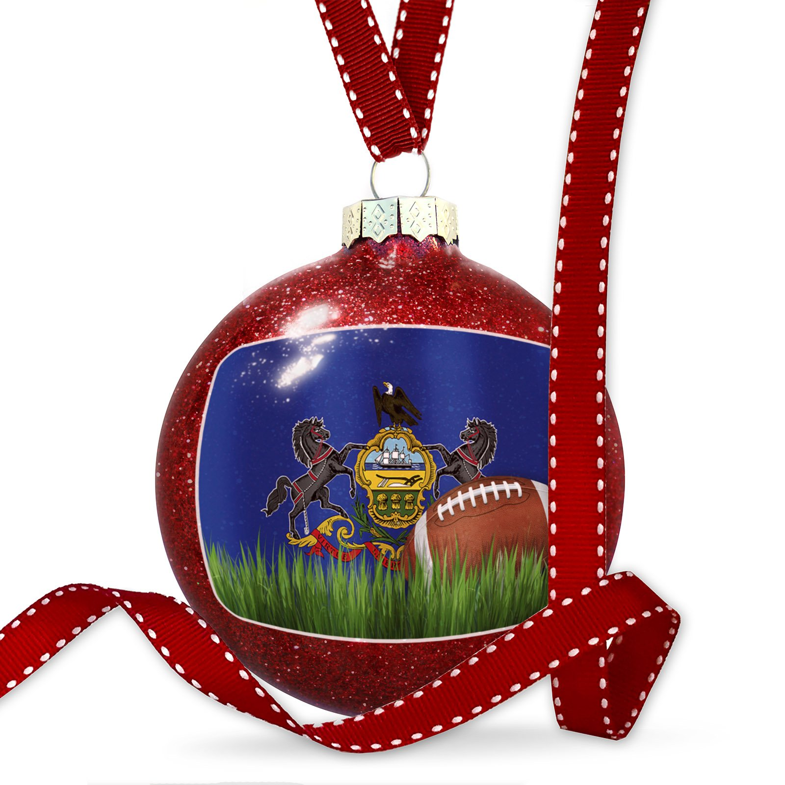 Christmas Decoration Football with Flag Pennsylvania region America (USA) Ornament