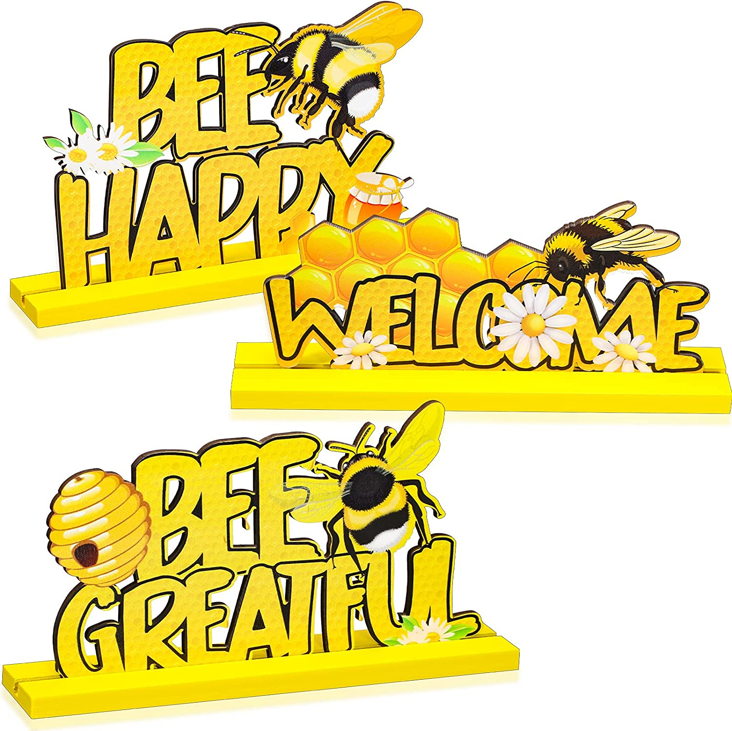 3 Pieces Bee Table Decor Signs Wooden Table Decoration Welcome Table Topper Bee Centerpiece for Home Outdoor Garden