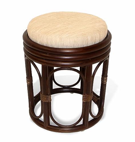 SunBear Furniture Natural Rattan Wicker Stool Pier Plant Stand Handmade Design ECO, Dark Brown