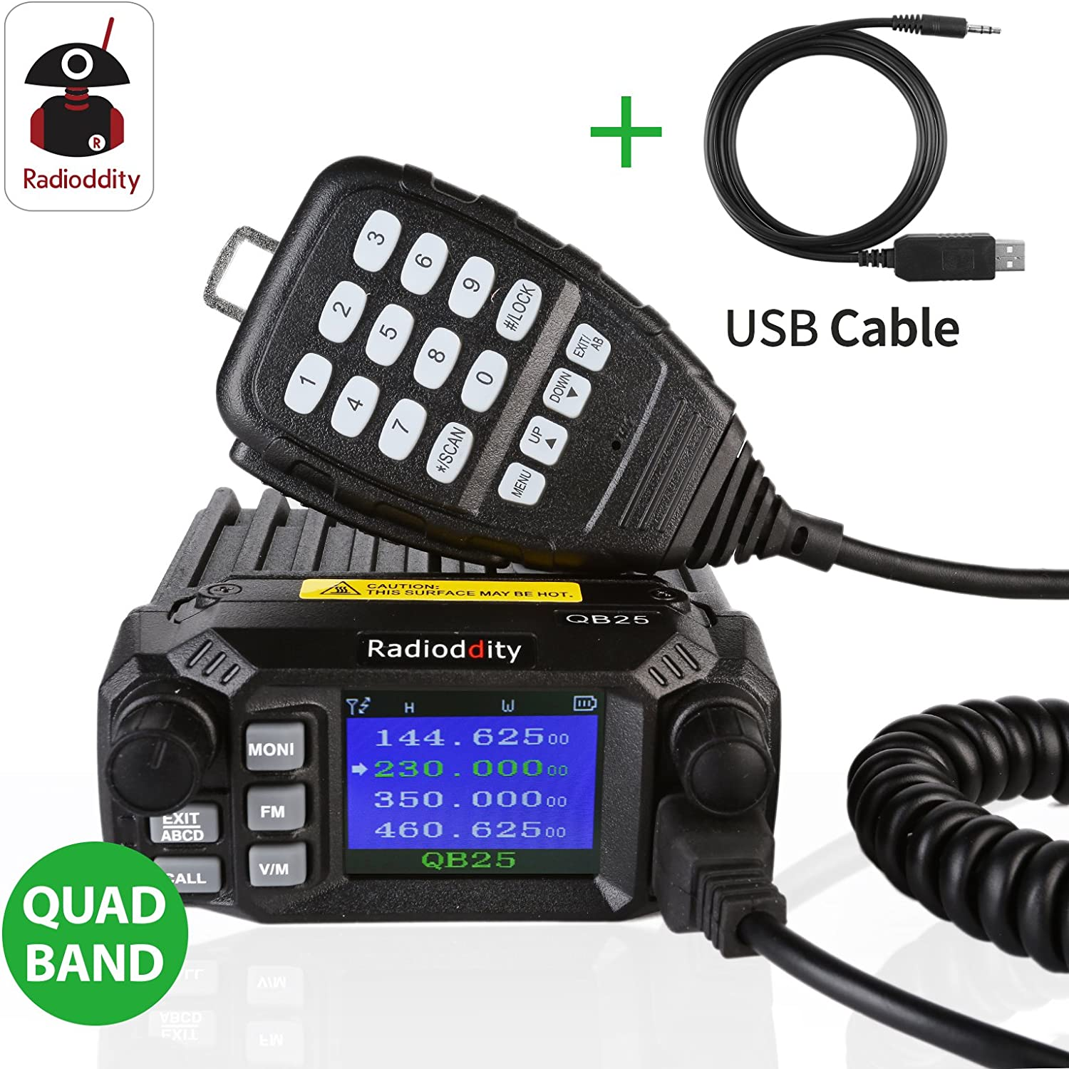 Radioddity QB25 Quad Band Quad-Standby Mini Mobile Car Truck Radio VHF UHF 25W 10W Car Transceiver with Programming Cable CD