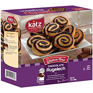Katz Gluten Free Chocolate Rugelach | Dairy Free, Nut Free, Soy Free, Gluten Free | Kosher (1 Pack of 8 Rugelech, 7 Ounce)