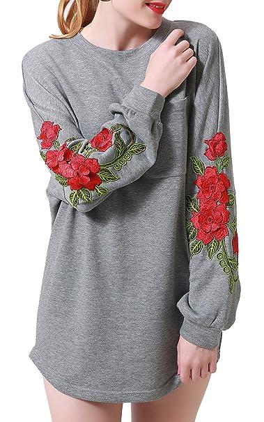 ef90bdd0861 Zevrez Women's Casual Tunic Pullover Floral Long Sleeve Sweatshirt Grey  Dress(S)