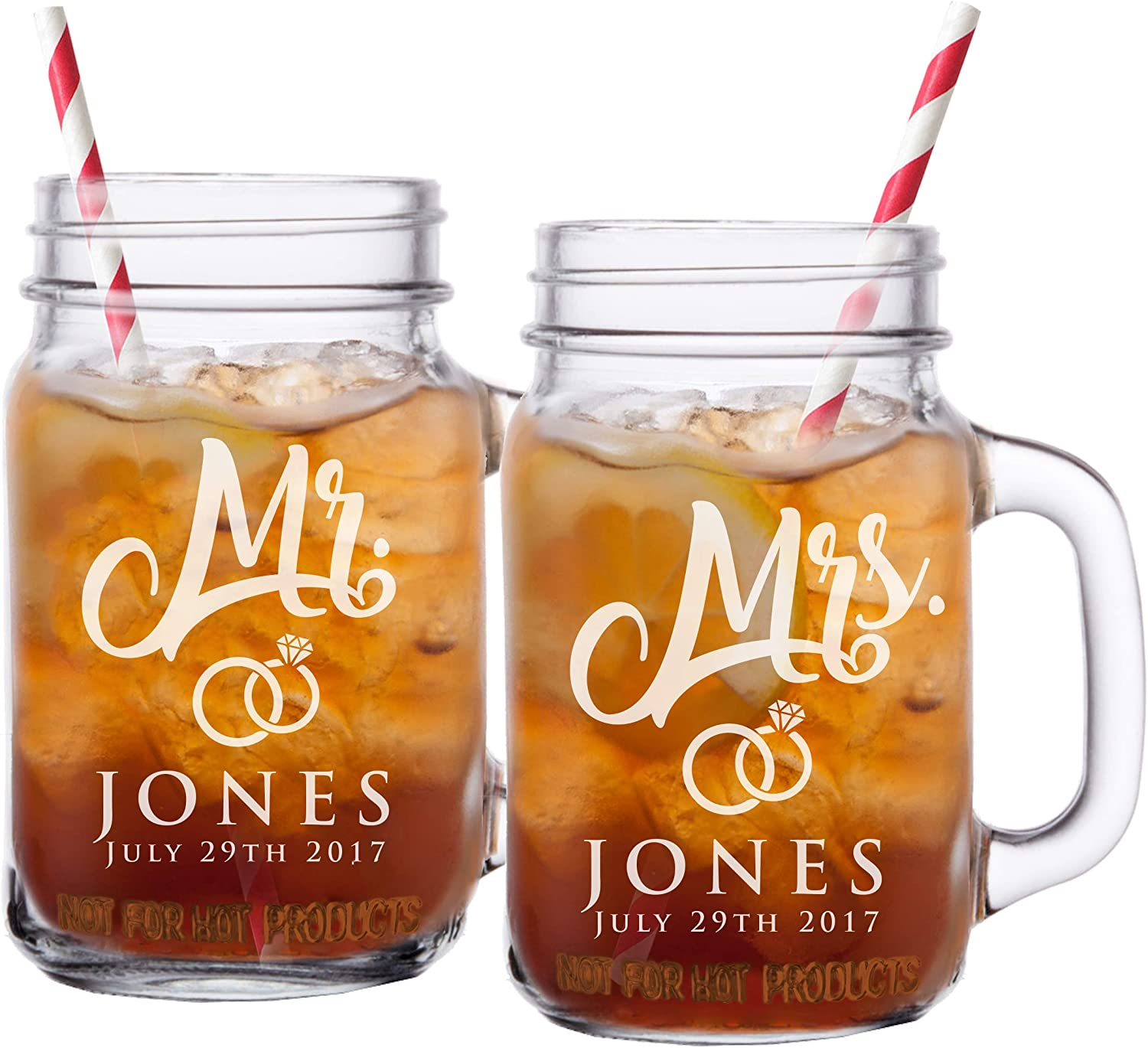 Amazon Com Mr And Mrs Mason Jar Glasses His And Her Gifts For