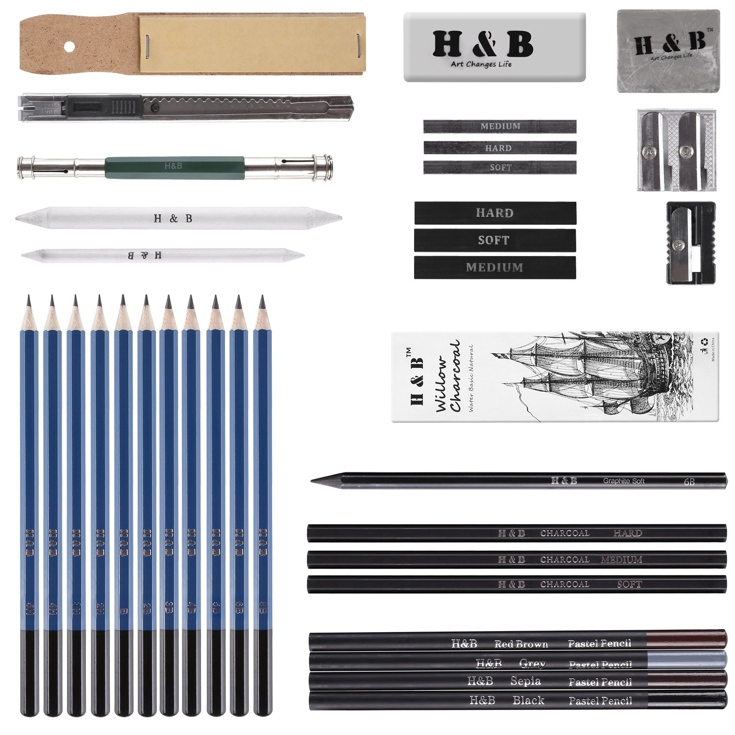 FEMOR Sketching/Drawing Pencils Set, 40 Pieces Sketching Art Kit with Sketch/Graphite Pencils, Erasers, Kit Bag, Ideal Gift for Kids and Painting Amateurs by femor (Image #2)