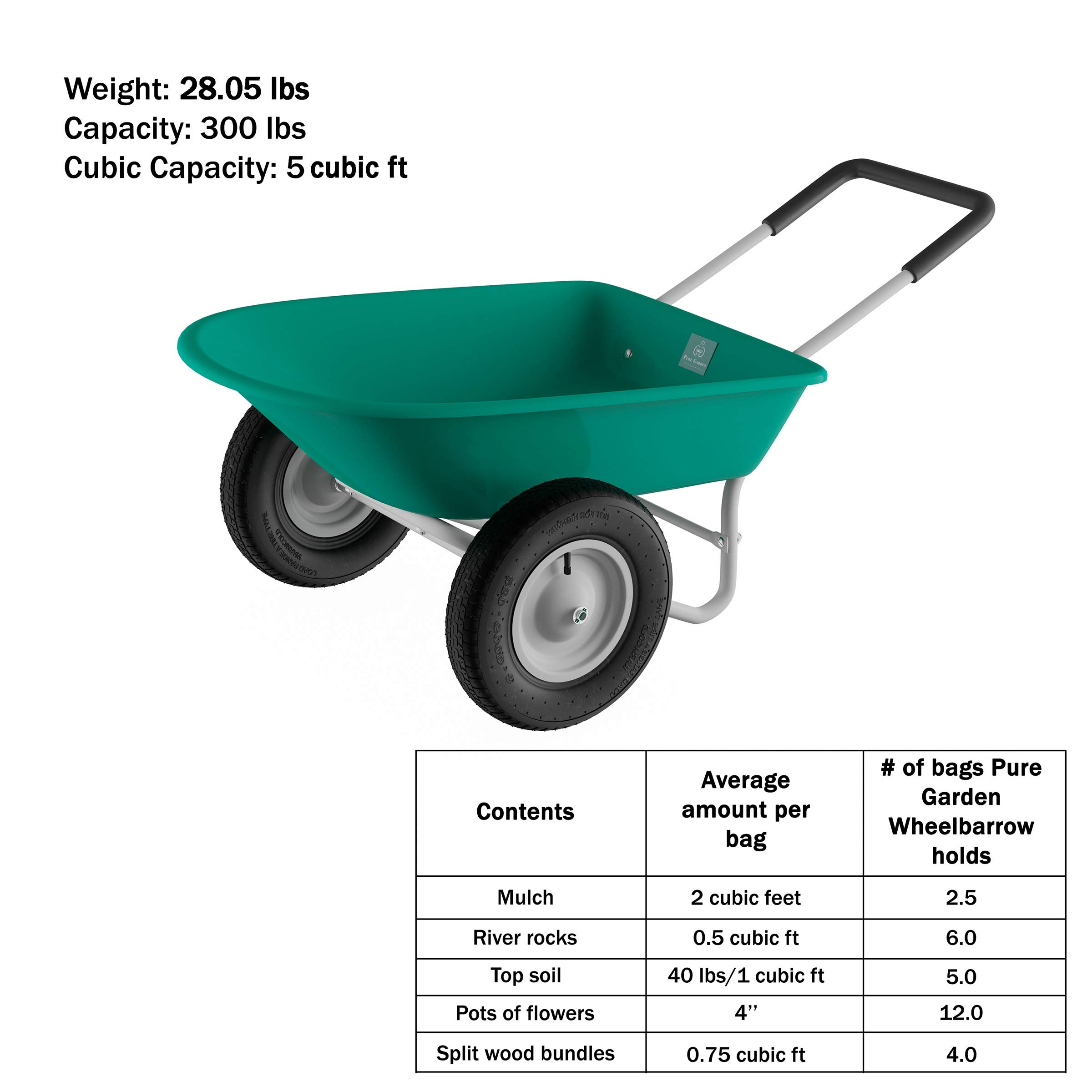 Pure Garden (PURNC) 50-LG1079 Pure 2-Wheeled Garden Wheelbarrow – Large Capacity Rolling Utility Dump Cart for Residential DIY Landscaping, Lawn Care and Remodeling by Pure Garden (PURNC) (Image #3)