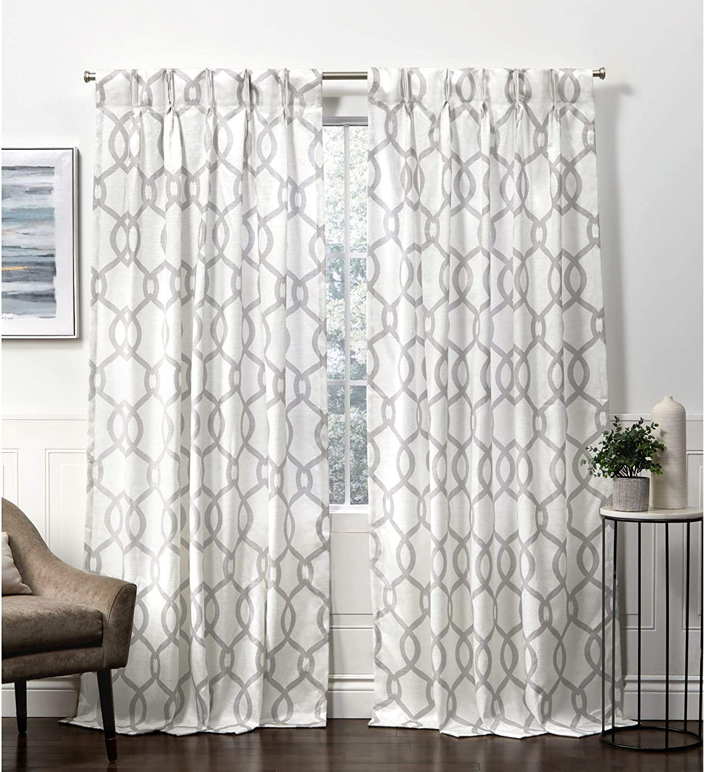 Exclusive Home Curtains Kochi Pinch Pleat Curtain Panel, 54x96, Dove Grey, 2 Panels