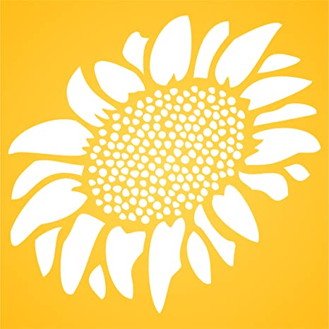 L 26.5 x 30.5cm Sunflower Stencil - Reusable Large Flower Plant Seed Wall Stencil Template