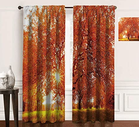 Landscape Rod Pocket Curtain Panel Autumn Season Fall Trees Sunset In Garden Plant Leaves Relaxing Art Photo Room Darkening Curtains For Living Room 2pcs Each 48 Wx84 L Vermillion Yellow Home