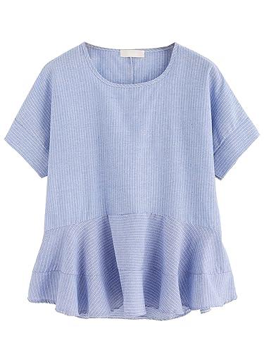 SheIn Women's Loose Ruffle Hem Peplum Short Sleeve Blouse Top