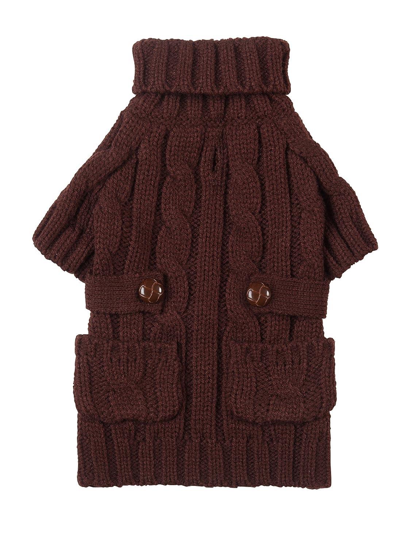 Amazon.com : fabdog Pocket Cable Knit Turtleneck Dog Sweater Red ...
