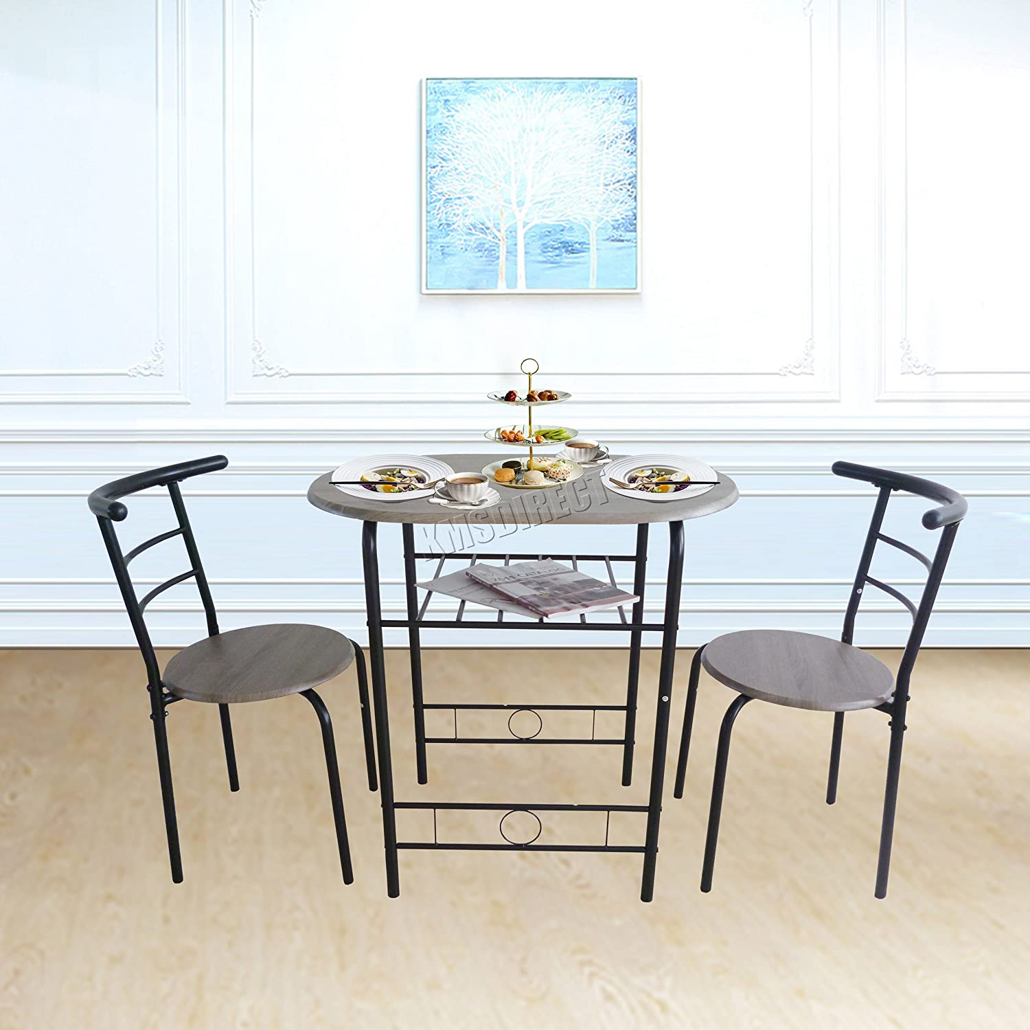 WestWood Compact Dining Table Breakfast Bar With 2 Chair Stool Set Metal Wooden MDF Modern Kitchen Room Home Furniture DS06 Black KMS