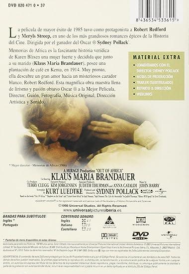 Memorias de Africa [DVD]: Amazon.es: Robert Redford, Meryl Streep, Sydney Pollack, Robert Redford, Meryl Streep, Sydney Pollack: Cine y Series TV