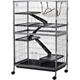 """PawHut 50"""" 4 Tier Steel Plastic Small Animal Pet Cage Kit with Wheels - Silver Grey Hammertone"""