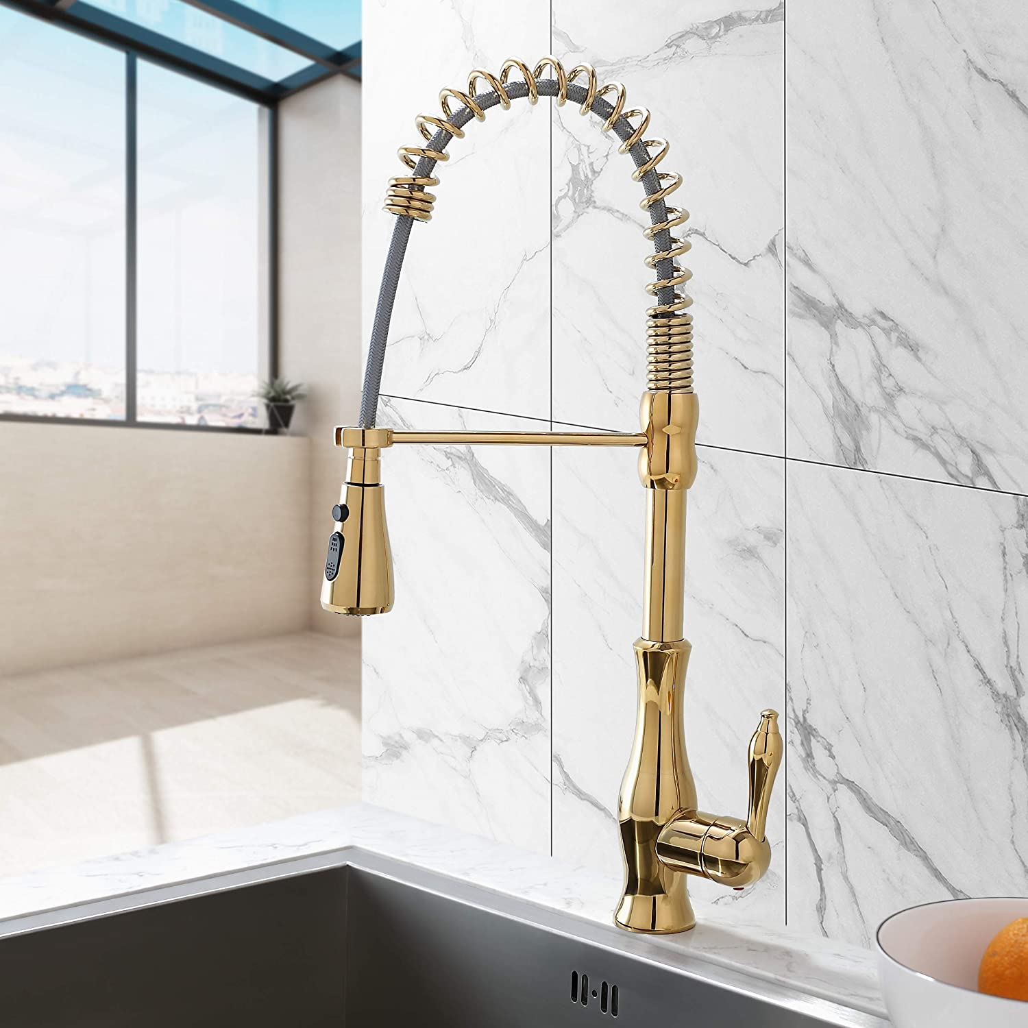 Lovedima Modern Gold Kitchen Faucet With Pull Down Sprayer High Arc Single Handle Swiveling Kitchen Sink Faucet Lead Free Solid Brass Kitchen Faucet Gold Amazon Com