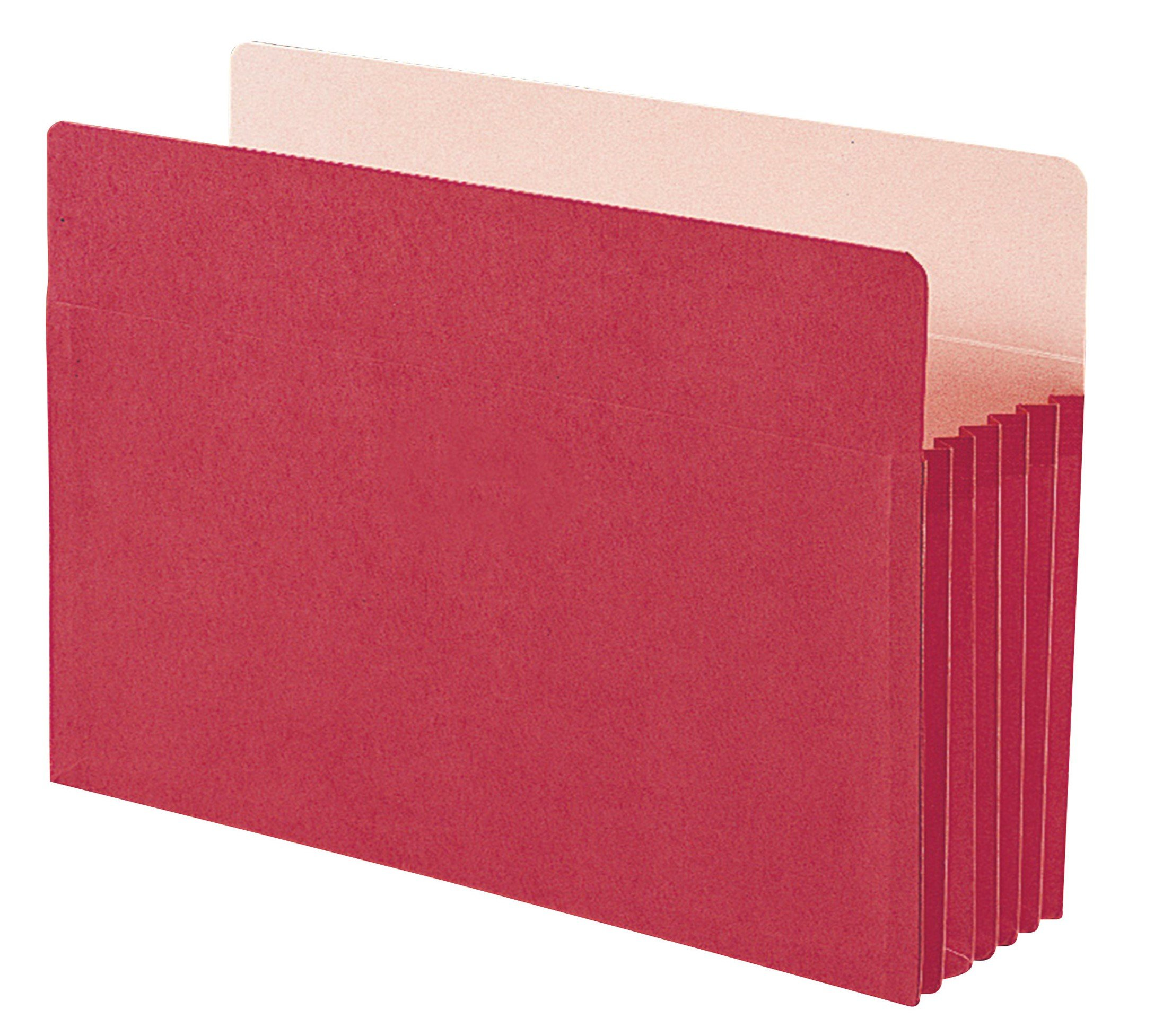 Smead File Pocket, Straight-Cut Tab, 5-1/4'' Expansion, Legal Size, Red, 10 per Box (74241) by Smead