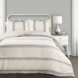 Lush Decor Comforter Farmhouse Stripe 3 Piece Reversible Bedding Set, King, Blue