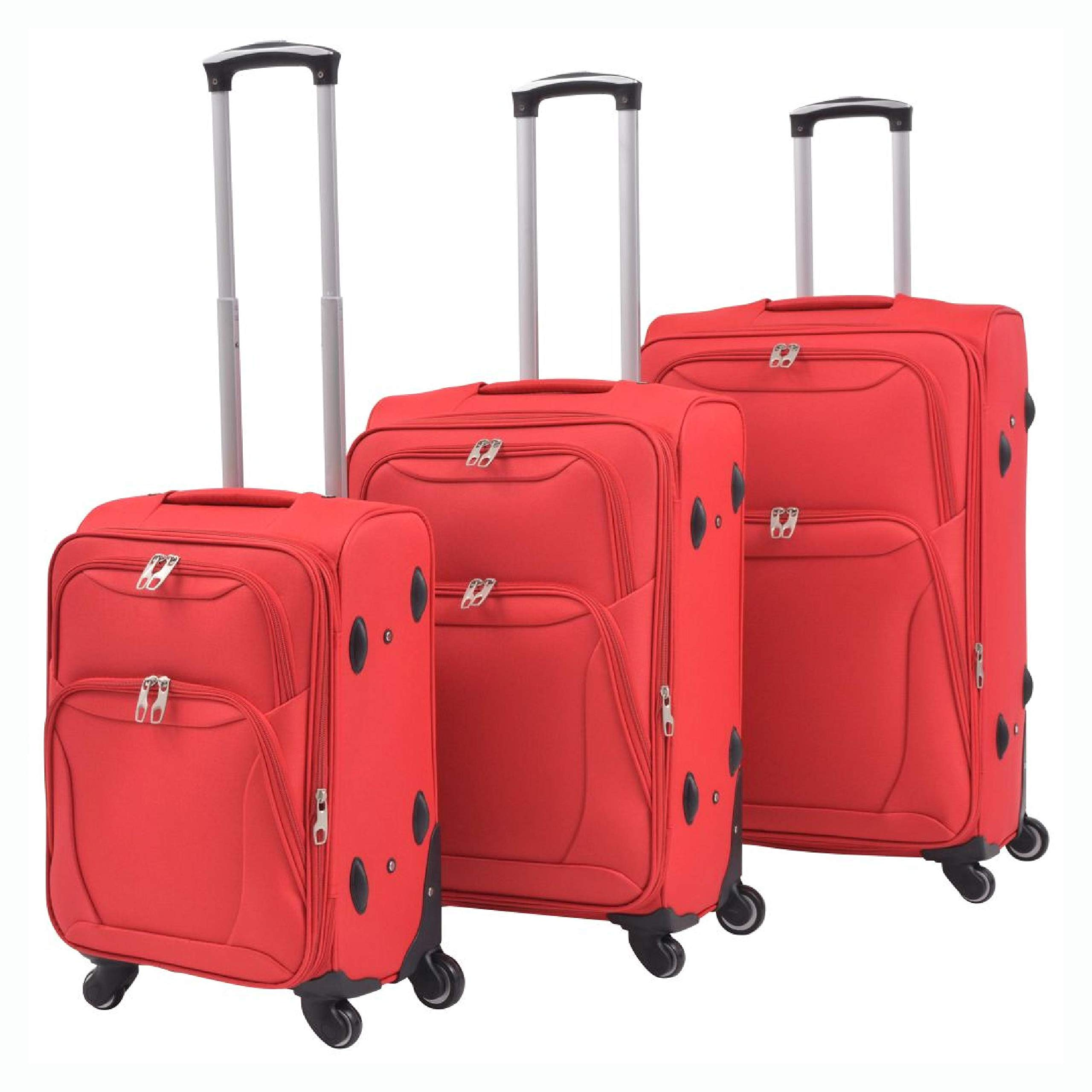 HomyDelight Suitcase, 3 Piece Soft Case Trolley Set Red by HomyDelight
