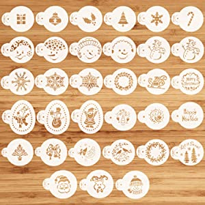 33Pcs Christmas Cookie Stencils Holiday Cupcake Cookie Stencil Tops, Food Decorating Stencils for Chritsmas