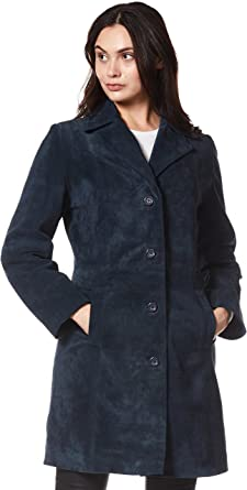 Smart Range Trench Ladies Leather Jacket Black Classic Knee-Length Designer Coat 3457