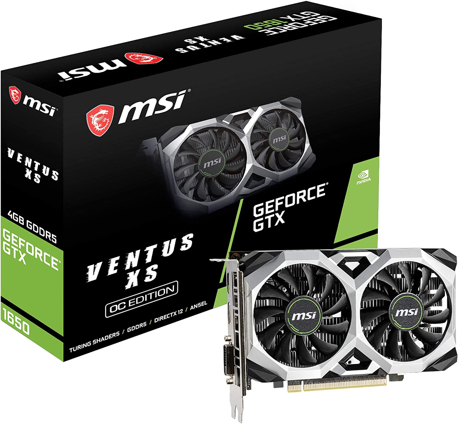 MSI G1650VXS4C Gaming GeForce GTX 1650 128-Bit HDMI/DP 4GB GDRR5 HDCP Support DirectX 12 VR Ready OC Graphics Card (GTX 1650 Ventus XS 4G OC)
