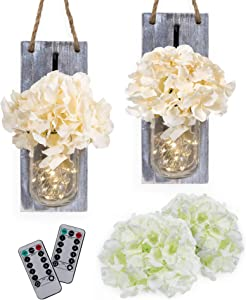 RS Sunlight Mason Jar Wall Sconce with String LED Lights (Set of 2) - Farmhouse Chic Wall Decor with Fairy Lights - Rustic, Shabby Chic Style - Two Remote Controls and Four Stems of Hydrangea