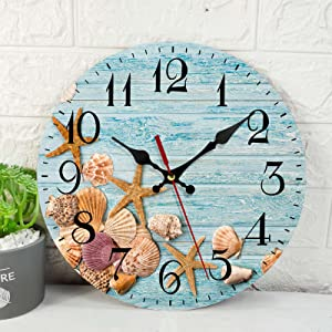 Wooden Wall Clock Silent Non-Ticking ,Starfish Seashells Blue Wooden Vintage Round Wall Clocks Decor for Home Kitchen Living Room Office, Battery Operated(12 Inch)
