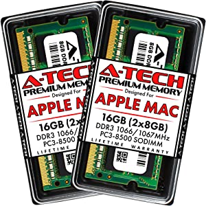 A-Tech 16GB Kit (2x8GB) DDR3 1066MHz / 1067MHz SODIMM PC3-8500 RAM for Apple MacBook (Mid 2010, 13 inch), MacBook Pro (Mid 2010, 13 inch), iMac (Late 2009, 27 inch, Core i5/i7), Mac Mini (Mid 2010)