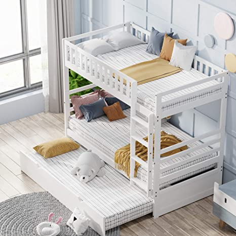 Amazon Com Twin Over Twin Bunk Bed Trundle Beds For Kids Twin Bed With Ladder Solid Wood Trundle Bed With Safety Rail Milky White Kitchen Dining