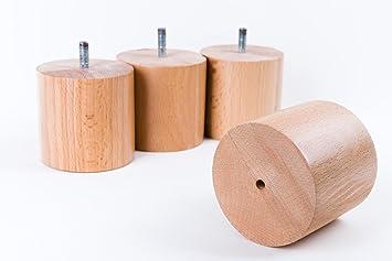Woodenfeetuk 4 x Madera de Haya Bun pies Patas de Muebles ...