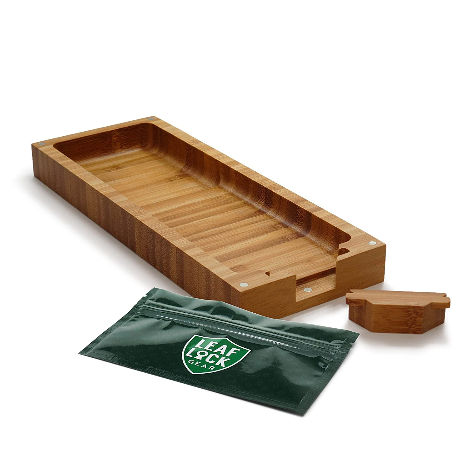 Amazon.com: RAW Triple Flip Magnetic Bamboo Rolling Tray with Leaf Lock Gear Smell Proof Tobacco Pouch: Health & Personal Care