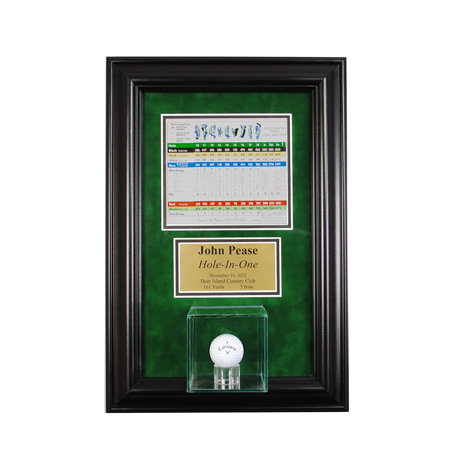 hole in one golf ball glass display case wall mounted