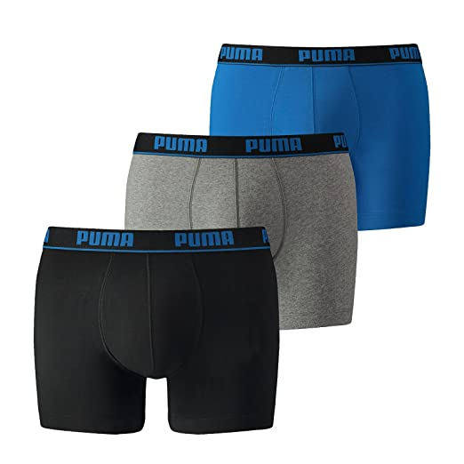 8143cefe47c1 Mens 3 Pack Puma Plain Cotton Boxer Shorts With Contrast Waistband at Amazon  Men's Clothing store: