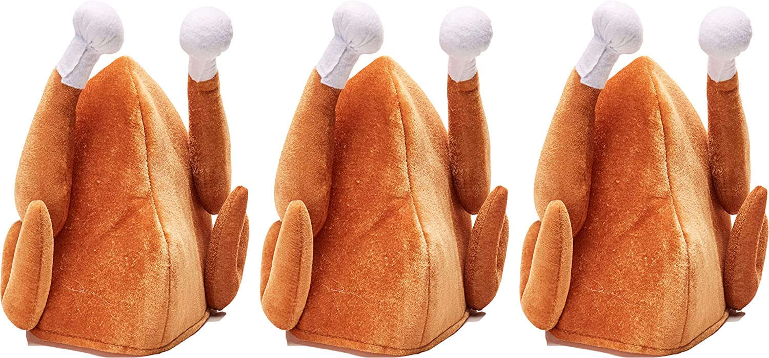 3 Pack Simply Genius Plush Turkey Hats Thanksgiving Halloween Costume Holiday Trot Accessory