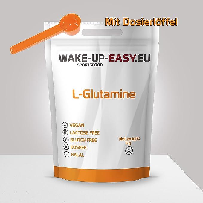 1 kg L-glutamina en polvo, a-aminoácido n-esencial, proteinogénico + cuchara dosificadora (1000 g glutamina pura, sin aditivos)