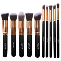 Ancheer Professional 10pcs Premium Synthetic Kabuki Makeup Brush Set Foundation Blending Cosmetic Brushes Essential Kit (Black)