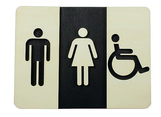 WC Cartel Madera de WC Cartel para puerta cartel Mujer ...
