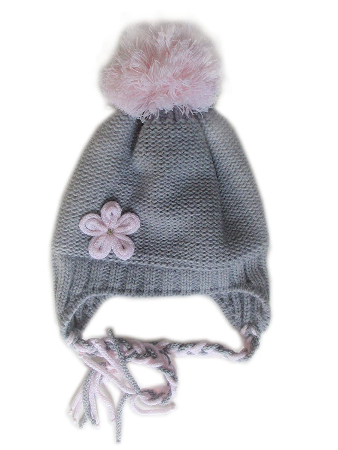 7260c513c90 Amazon.com  Frost Hats Winter Hat for Girls Warm Winter Beanie Ski Hat Pom  Pom Beanie (Grey)  Clothing