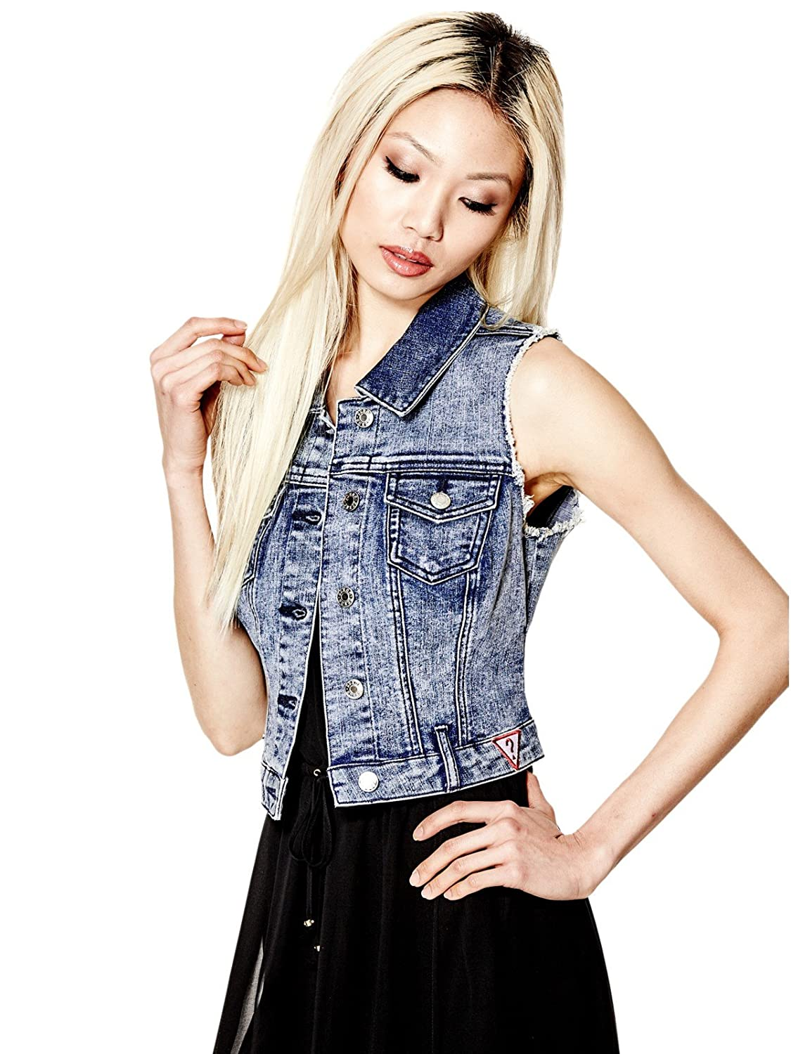 Guess Factory Women's Amery Denim Frayed Vest GuessFactory