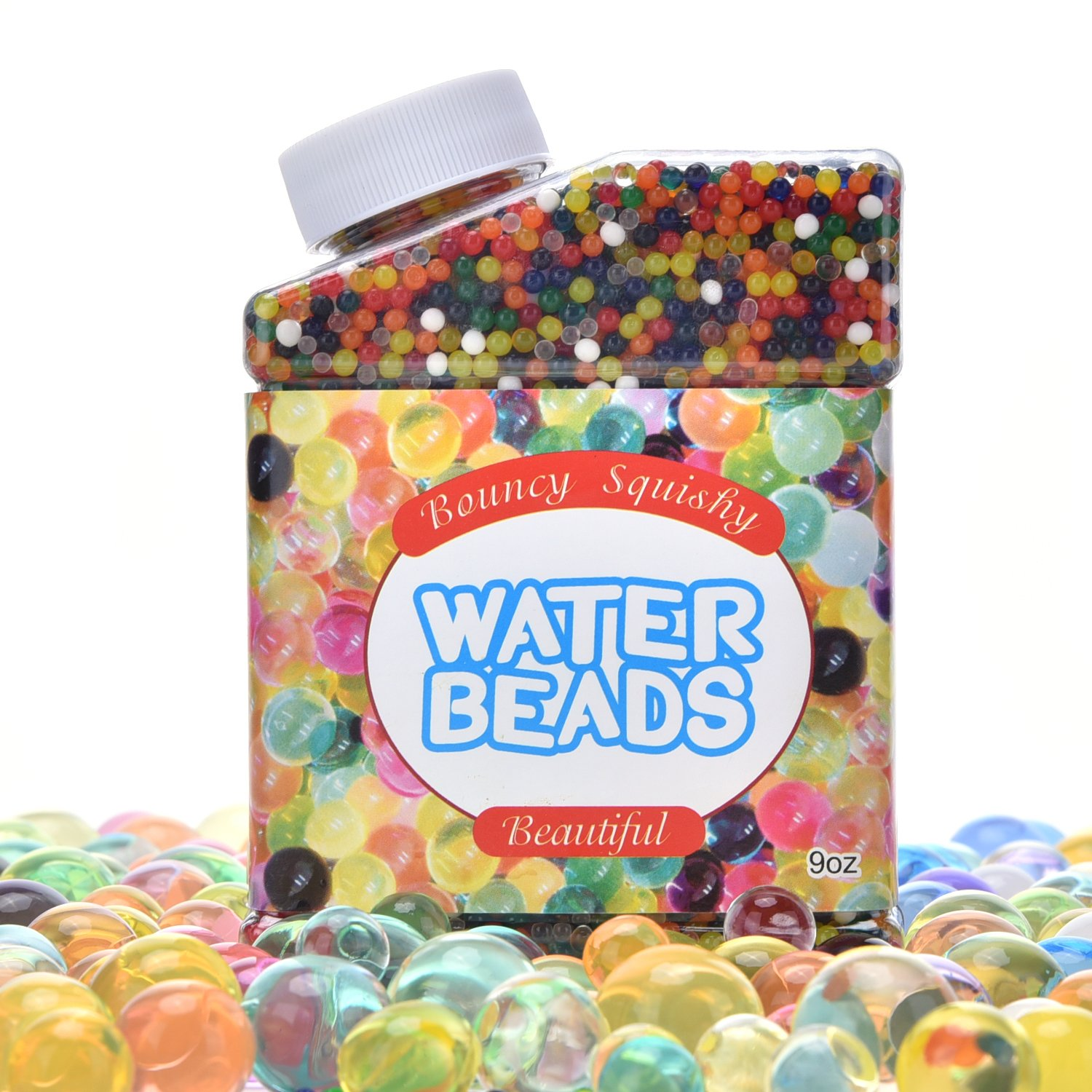 LOAMO Water Beads Rainbow Mix Jelly Growing Gel Balls for Kids Tactile Sensory Toys Vase Filler Wedding Centerpiece Home Decoration Plants 50 000 Beads