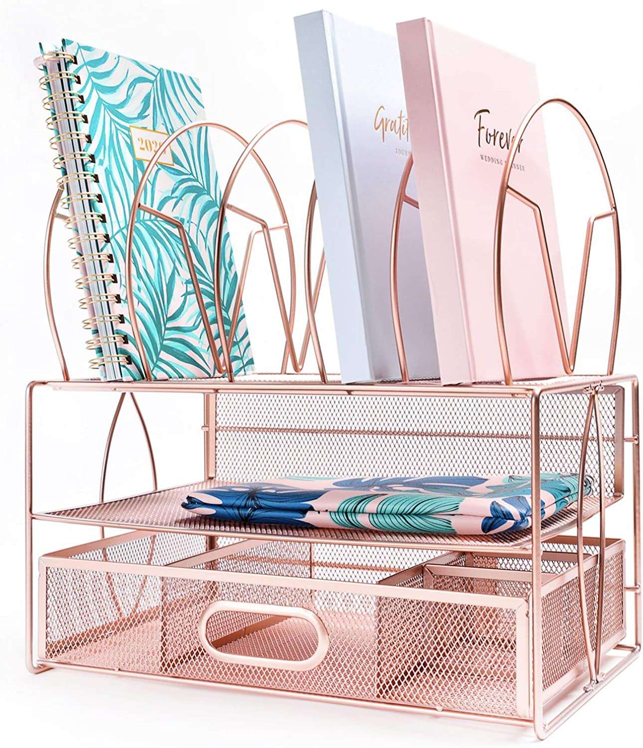 IKORA Rose Gold Office Desk Organizer & Desk Accessories For Women. Multifunctional workspace organizer for papers, documents, files, folders, pens, accessories and office supplies