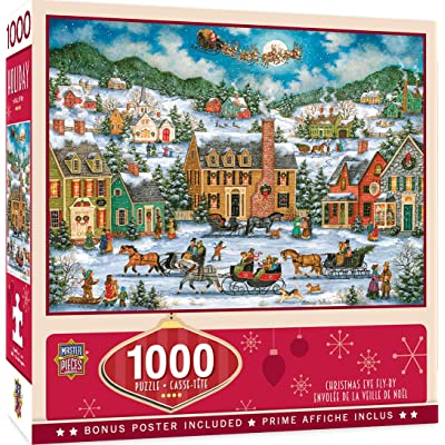 MasterPieces Seasonal Holiday Jigsaw Puzzle, Christmas Eve Fly By, Featuring Art by Bonnie White, 1000 Pieces: Toys & Games
